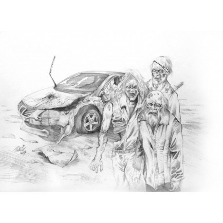 ORIGINAL DRAWING  - Zombies can't drive